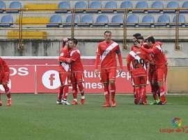 Los jugadores del Rayo Vallecano celebran uno de los tantos anotados en el Reino de León. LaLiga