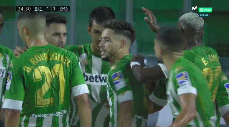 Betis' celebrate after scoring. Screenshot/MovistarLaLiga