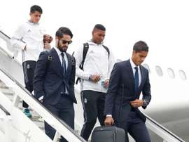 The players during their arrival. RealMadridCF
