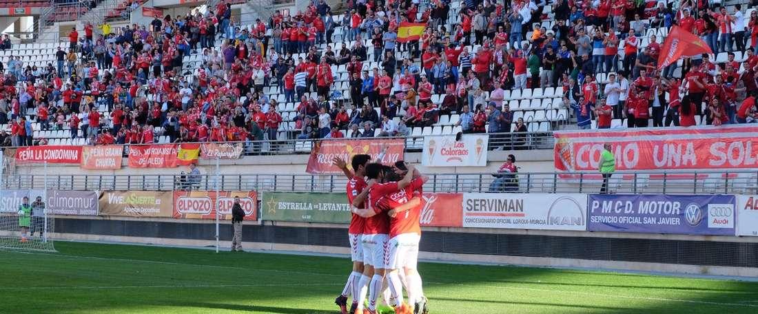 El Murcia se adelantó en el minuto 2. RealMurciaCFSAD