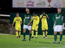 Los jugadores del Villarreal celebran el gol de Bakambu logrado ante el Toledo. LaLiga