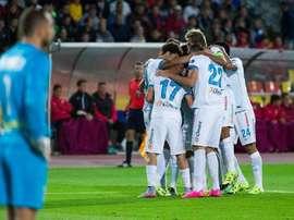 Los jugadores del Zenit celebran el primer tanto logrado por Shatov al Rubin Kazan. Twitter
