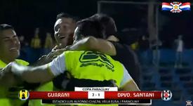 Guaraní celebró su pase a las semifinales de la Copa Paraguay. Captura/Futb
