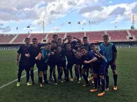 Los juveniles del Barcelona celebran la victoria en la Youth League. FCBMasia