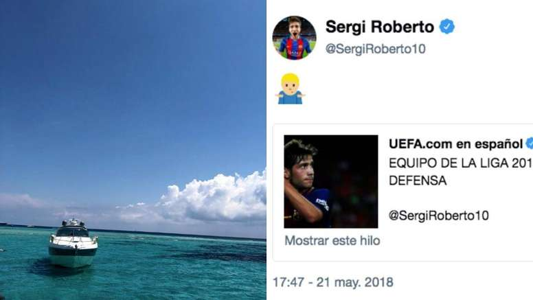 Roberto couldn't understand why he didn't make the Spain squad. Captura/SergiRoberto10