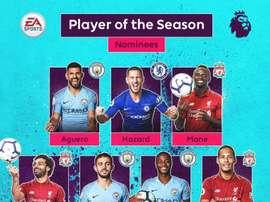 Os sete indicados ao prêmio de melhor jogador da Premier 2018-19. Twitter/PremierLeague