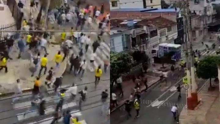 Los ultras de Millonarios y Bucaramanga pelearon a las afueras del estadio. Twitter/LeagueOfi