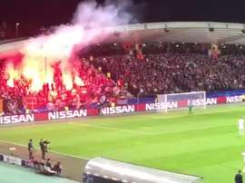 Spartak Ultras fired a flare onto the pitch. Twitter