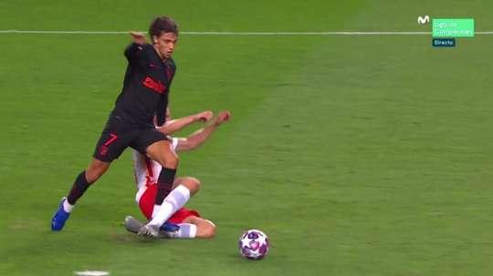 Joao Felix prend ses responsabilités et égalise contre Leipzig. Capture/MovistarLigadeCampeones