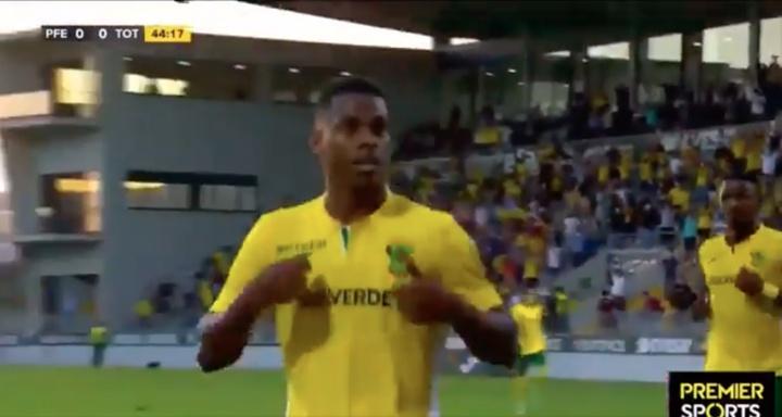 Lucas Silva gave Pacos Ferreira a first leg advantage. Screenshot/PremierSports