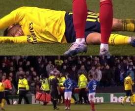Lucas Torreira suffered a bad injury at Fratton Park. Capturas/DAZN