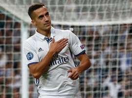Lucas Vasquez celebrates Real Madrid's fourth goal of the night. RealMadrid