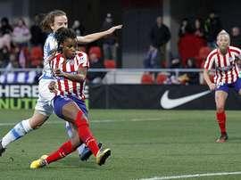 Ludmila hizo un doblete en la derrota ante la Real. Twitter/AtletiFemenino