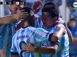 Luis Rodríguez fue bastante comedido en la celebración de su tercer tanto. Captura/TNTSports