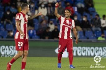 Luis Suárez, celebrando el 1-2 en el Getafe-Atlético de la sexta jornada de la Liga 2021-22. LaLiga