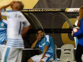 El delantero del Barça no pudo jugar el duelo ante Venezuela por lesión. AFP