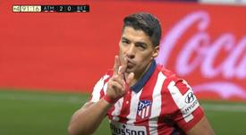 Suárez scored for Atlético. Screenshot/MovistarLaLiga