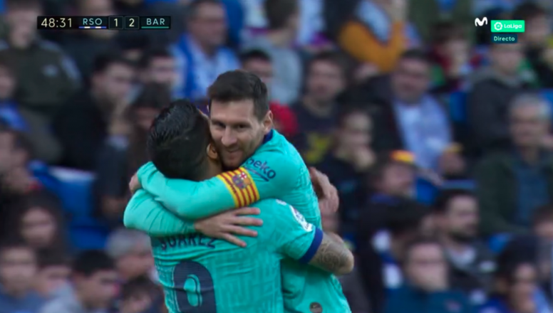 Suárez made it 2-1. Screenshot/MovistarLaLiga