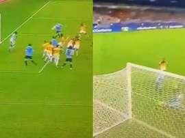 Après Cavani, c'est Suarez qui ouvre son compteur. Captura/DirectTV