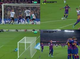 Suárez, le killer total : premier ballon, et but. Capture/Movistar+
