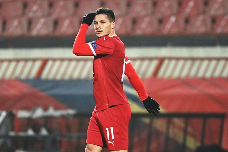 Luka Jovic testé positif à la Covid-19. Twitter/FSSrbije