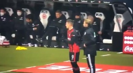 Jovic starts on bench and comes on in 62nd minute. Screenshot/SkySport