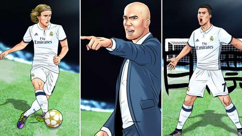 Luka Modric, Zinedine Zidane and Cristiano Ronald in manga style. RealMadrid