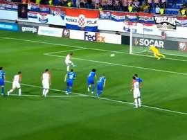Modric abre o placar contra o Azerbaijão. Capture/BeMad