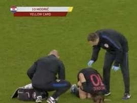 Modric s'est blessé au grand désespoir de Madrid. Capture/UEFATV
