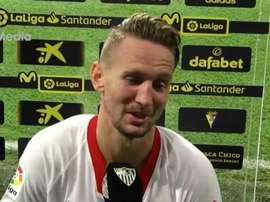 Munir y De Jong, contentos por la evolución del equipo. Captura/SevillaFC