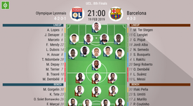 Lyon v Barcelona, Champions League, last-16 - Official line-ups. BESOCCER