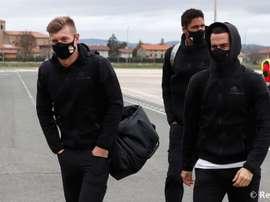 El Madrid aterrizó en Vitoria con Florentino a la cabeza. RealMadrid