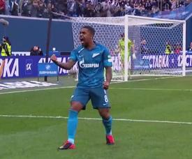 Malcom, do Zenit, comemora fim da seca de gols. Captura/Youtube
