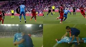 Goleiro do Sivasspor desmaia duas vezes após dividida. Capturas/beINSports