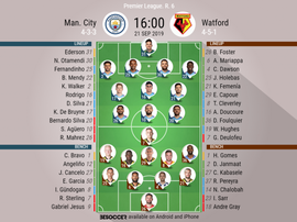 Man City v Watford. Premier League 2019/20. Matchday 6, 21/09/2019-official line.ups. BESOCCER