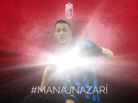 Rey Manaj arrive à Grenade, prêté par l'Inter Milan. Twitter/Granada