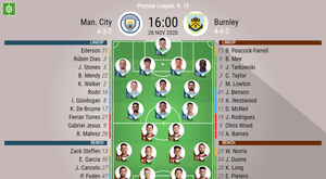 Manchester City v Burnley. Premier League 2020/21. Matchday 10, 28/11/2020-official line.ups. BESOCC
