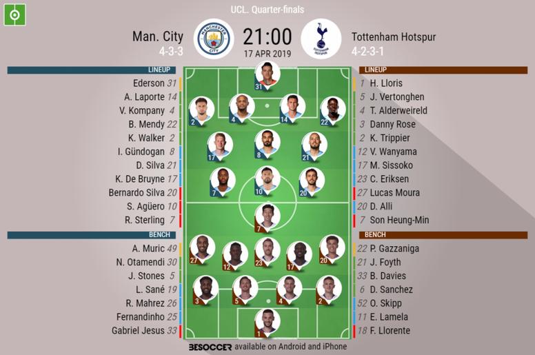 Man City v Tottenham, Champions League 2018/19, quarter-final 2nd leg - Official line-ups. BESOCCER