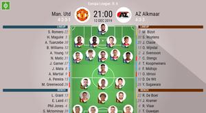 Manchester United v AZ Alkmaar, Europa League 19/20, 12/12/2019 - official line-ups. BeSoccer