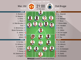 Manchester United v Club Brugge, Europa League last 32, 27/10/19 - official-line-ups. BeSoccer