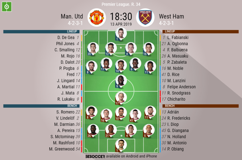 ebe40b8f Pin Manchester United v West Ham, Premier League 2018/19, Matchday 34.  Official