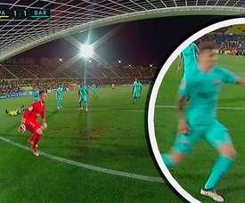 Calleri a inscrit un but sur penalty face au Barça. Twitter/Casadelfutbol