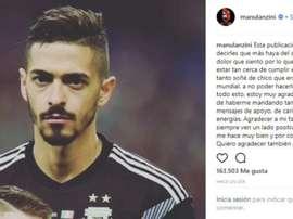 Emotiva carta de agradecimiento. Instagram/ManuelLanzini