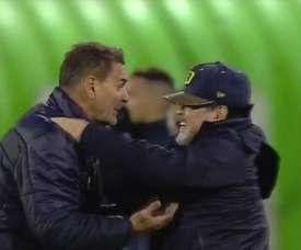 Maradona celebró el pase de Dorados. Captura/ESPN