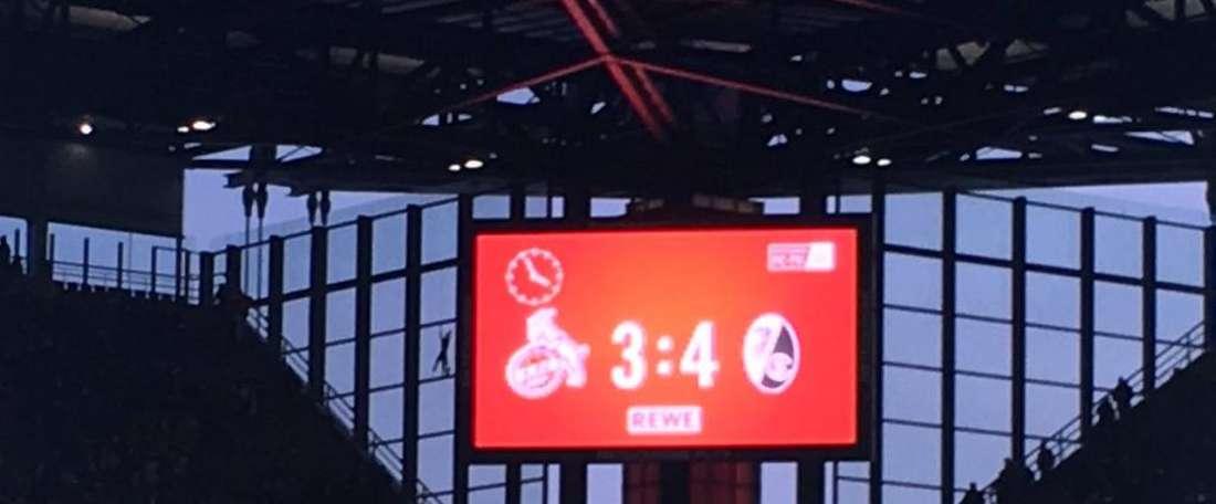 Placar do Köln-Freiburg no final da partida. Twitter