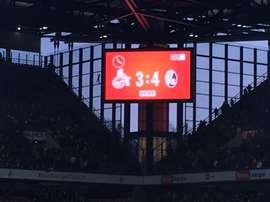 Marcador del Köln-Freiburg, tras la remontada de los visitantes en media hora. Twitter