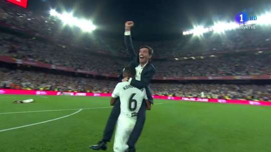 Marcelino conquistou o seu primeiro título ao ganhar a Copa do Rei. Captura/RTVE