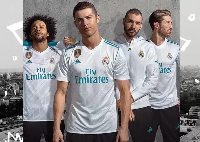 cffc28c467608 Pin Ya se conocen las nuevas camisetas del Real Madrid. Twitter
