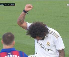 Marcelo scored Madrid's 3rd goal and honoured George Floyd. Screenshot/Movistar+