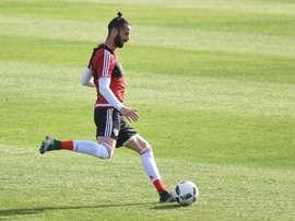Larrondo, jugador de River Plate, durante un entrenamiento. RiverPlate